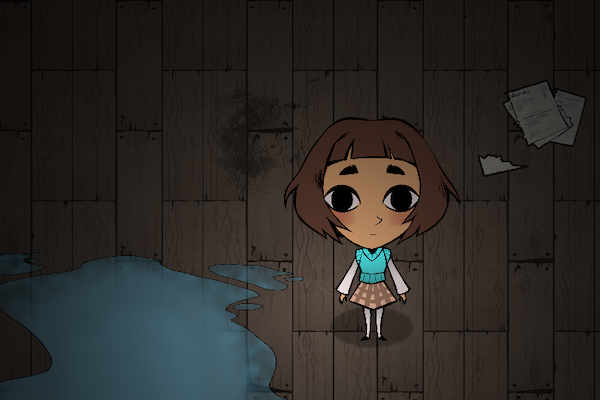 Screenshot from 8floor depicing the main character in a dark and scary room